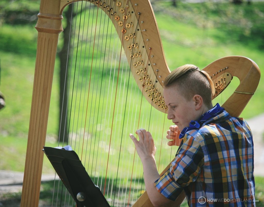 Harpist at Deering Oaks Farmer's Market