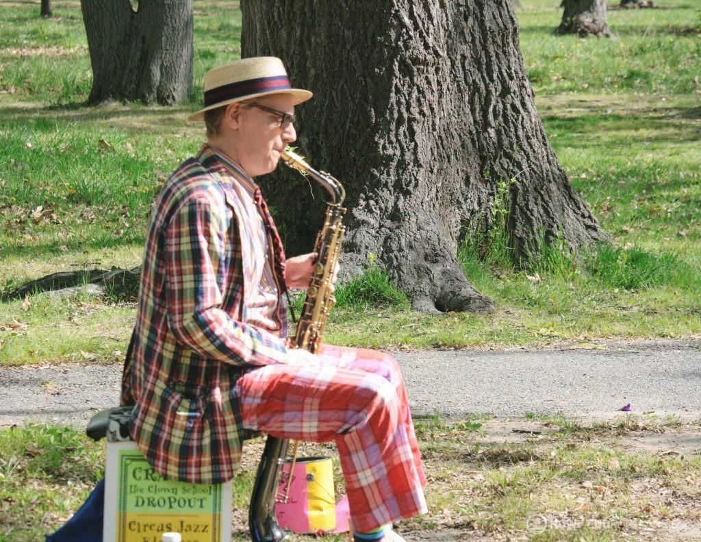 Saxophonist at Deering Oaks Farmer's Market