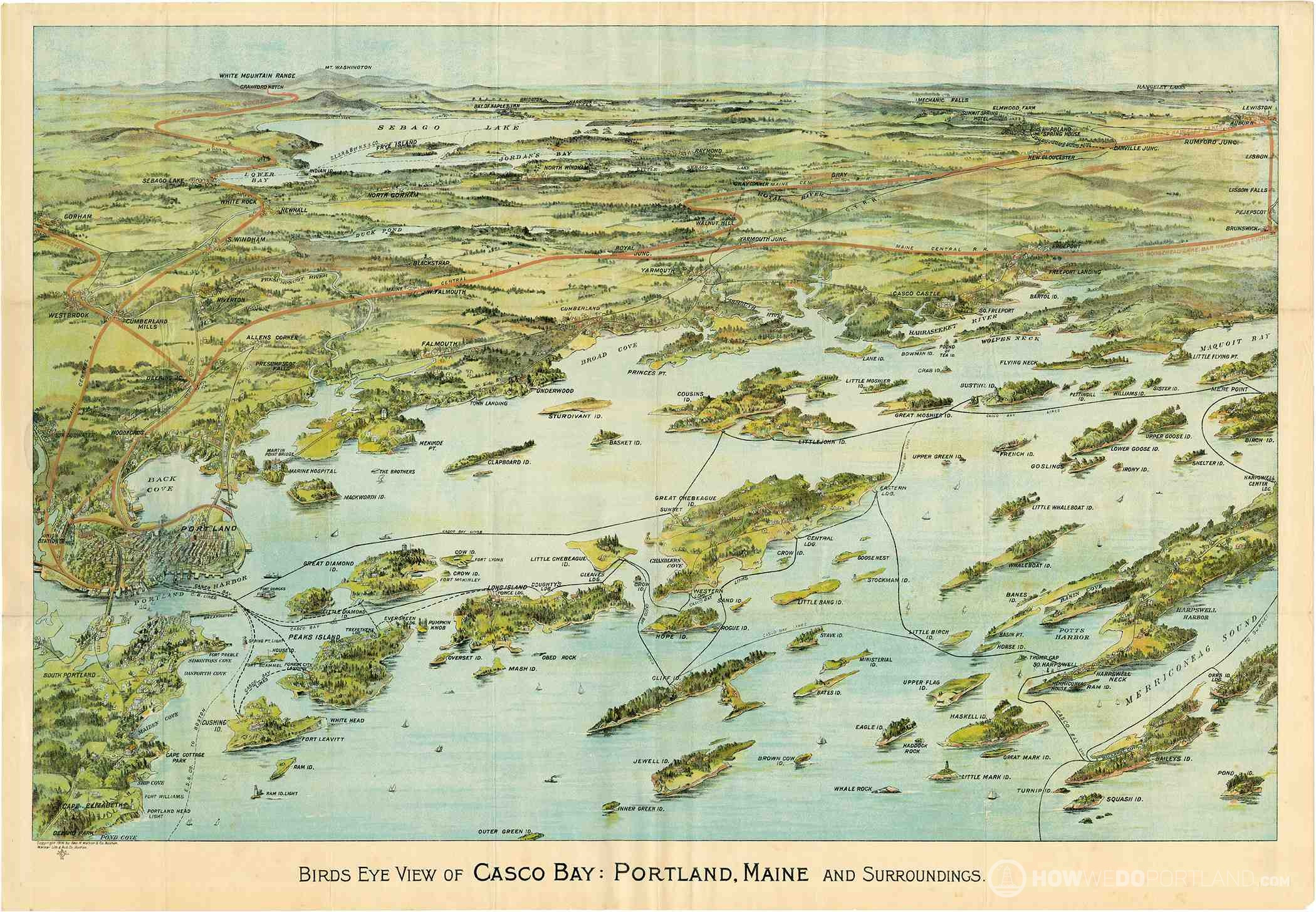 Historical Map of Casco Bay (1906)