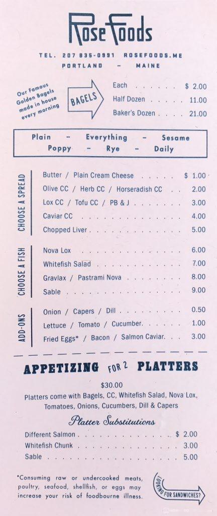 Rose Foods Menu - Bagels & Plates